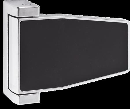 Lappenscharnier Zink-Druckguss, verchromt, rechts und links verwendbar, 20 mm Überschlag, nicht steigend, mit schwarzer Abdeckkappe