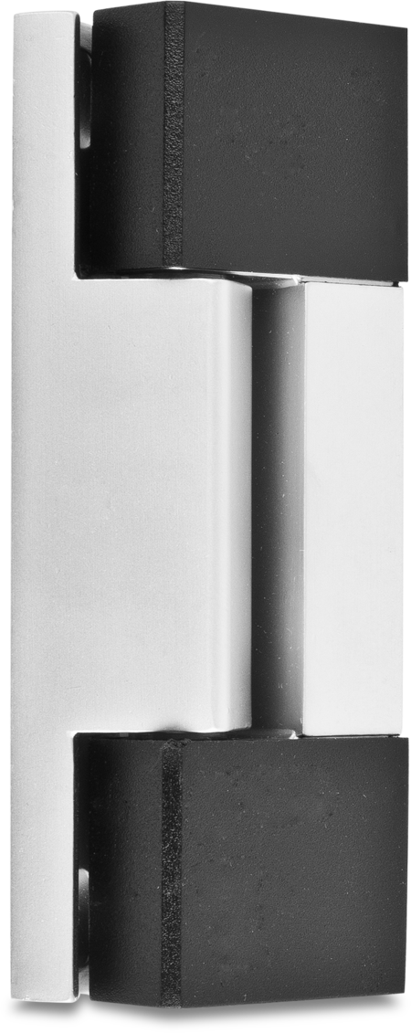 Eckscharnier Zink-Druckguss, matt verchromt, rechts und links verwendbar, 24 mm Drehpunkt, nicht steigend, seitliche Montage, mit 2 schwarzen Abdeckkappen
