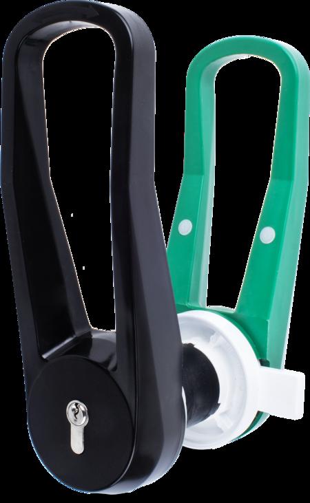 Verschluss für Kühl- und Tiefkühlraumtüren Kunststoff PA6, Außenhebel schwarz, Innenhebel grün, links, Türstärke 100 mm, integrierte Notauslösevorrichtung, mit Profilzylinder und 3 Schlüsseln, verschiedenschließend