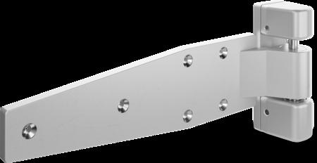 Schwerlast-Lappenscharnier MAXIFLEX Edelstahl, gesandstrahlt, rechts, nicht steigend, justierbar in 2 Achsen, für bündige Türen, max. Türgewicht ca. 150 kg bei Türe max. 2 x 1 m