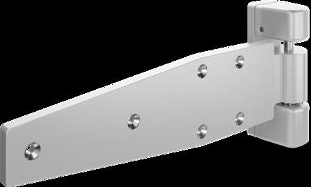 Schwerlast-Lappenscharnier MAXIFLEX Edelstahl, gesandstrahlt, rechts, steigend, justierbar in 2 Achsen, 32 mm Überschlag, max. Türgewicht ca. 150 kg bei Türe max. 2 x 1 m