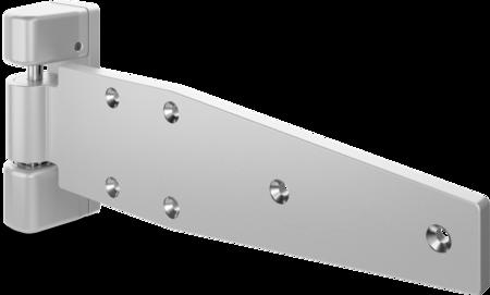 Schwerlast-Lappenscharnier MAXIFLEX Edelstahl, gesandstrahlt, links, steigend, justierbar in 2 Achsen, 32 mm Überschlag, max. Türgewicht ca. 150 kg bei Türe max. 2 x 1 m