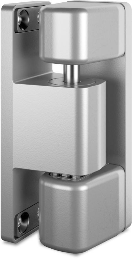 Schwerlast-Eckscharnier MAXIFLEX Edelstahl, gesandstrahlt, rechts, steigend, justierbar in 3 Achsen, für Türen ab 60 mm Überschlag, max. Türgewicht ca. 150 kg bei Türe max. 2 x 1 m