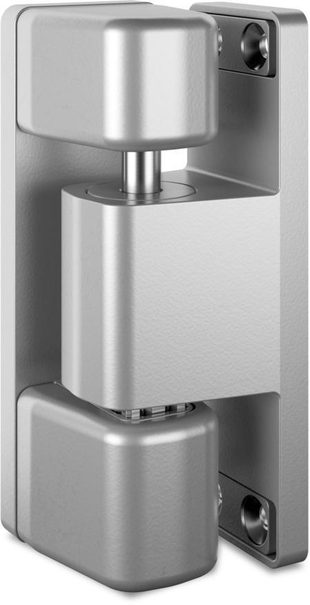 Schwerlast-Eckscharnier MAXIFLEX Edelstahl, gesandstrahlt, links, steigend, justierbar in 3 Achsen, für Türen ab 60 mm Überschlag, max. Türgewicht ca. 150 kg bei Türe max. 2 x 1 m