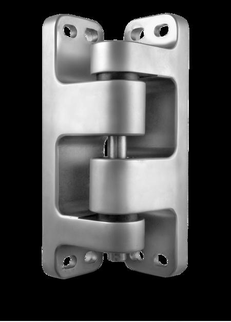 Schwerlastscharnier Edelstahl, gesandstrahlt, links, steigend, justierbar in 2 Achsen, für Türen ab 90 mm Überschlag, max. Türgewicht ca. 250 kg bei Türe max. 2 x 1 m
