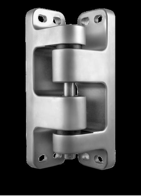 Schwerlastscharnier Edelstahl, gesandstrahlt, rechts, steigend, justierbar in 2 Achsen, für Türen ab 90 mm Überschlag, max. Türgewicht ca. 250 kg bei Türe max. 2 x 1 m