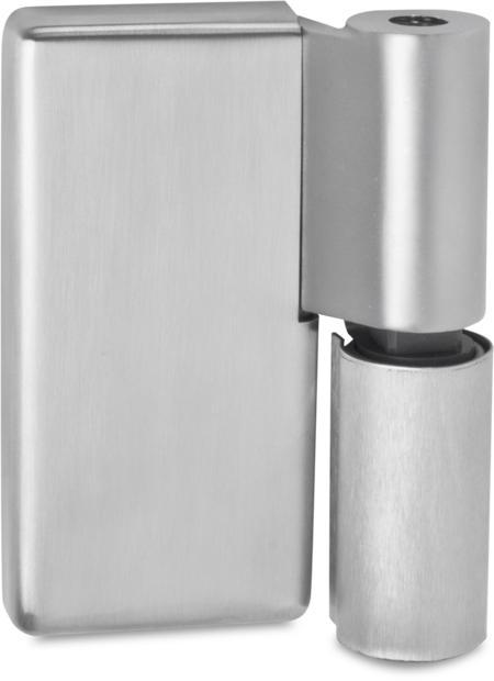 Lappenscharnier Edelstahl, gebürstet, rechts, steigend, einstellbar in 2 Achsen, aushängbar, für bündige (Betriebsraum-)Türen, inklusive 2 Abdeckkappen