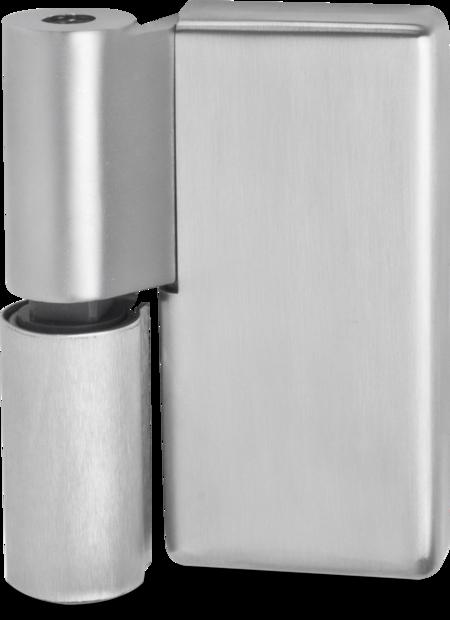 Lappenscharnier Edelstahl, gebürstet, links, steigend, einstellbar in 2 Achsen, aushängbar, für bündige (Betriebsraum-)Türen, inklusive 2 Abdeckkappen