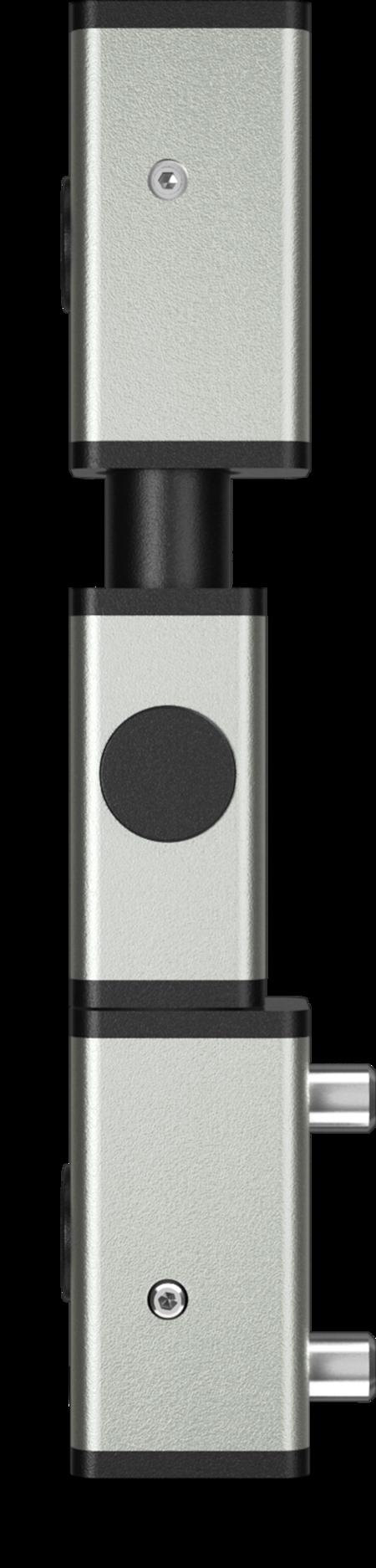 Eckscharnier 3-teilig Edelstahl, gesandstrahlt, rechts, steigend, für Türen ab 35 mm Überschlag, mit Zapfen, mit schwarzen Abdeckkappen
