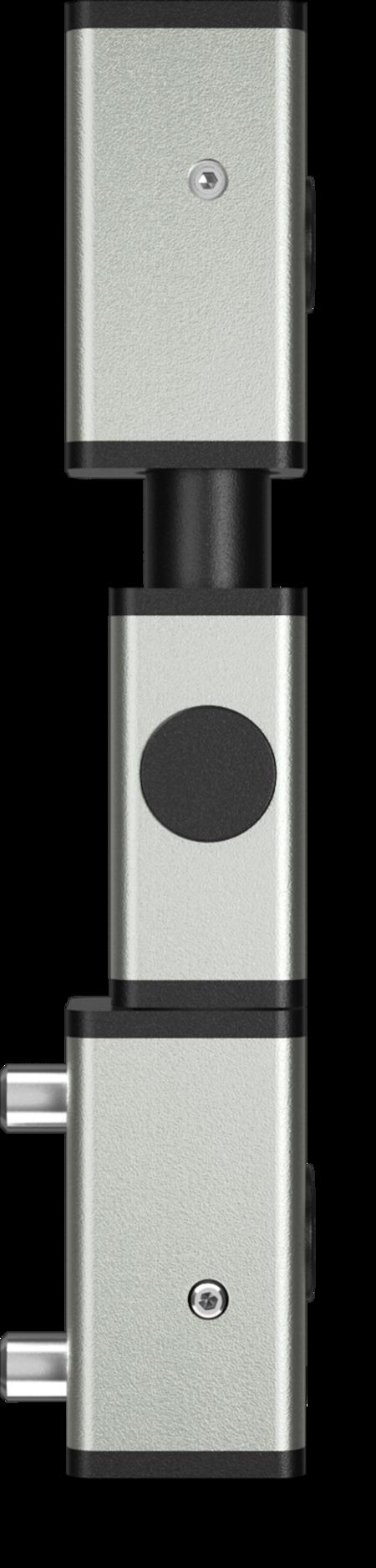Eckscharnier 3-teilig Edelstahl, gesandstrahlt, links, steigend, für Türen ab 35 mm Überschlag, mit Zapfen, mit schwarzen Abdeckkappen