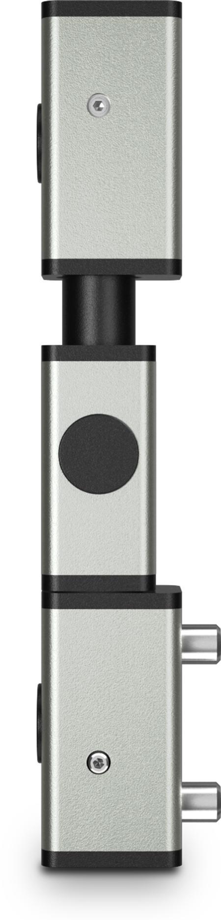 Eckscharnier 3-teilig Edelstahl, gesandstrahlt, rechts und links verwendbar, teilmontiert, steigend, 8 mm höheneinstellbar, für Türen ab 35 mm Überschlag, mit Zapfen, mit schwarzen Abdeckkappen