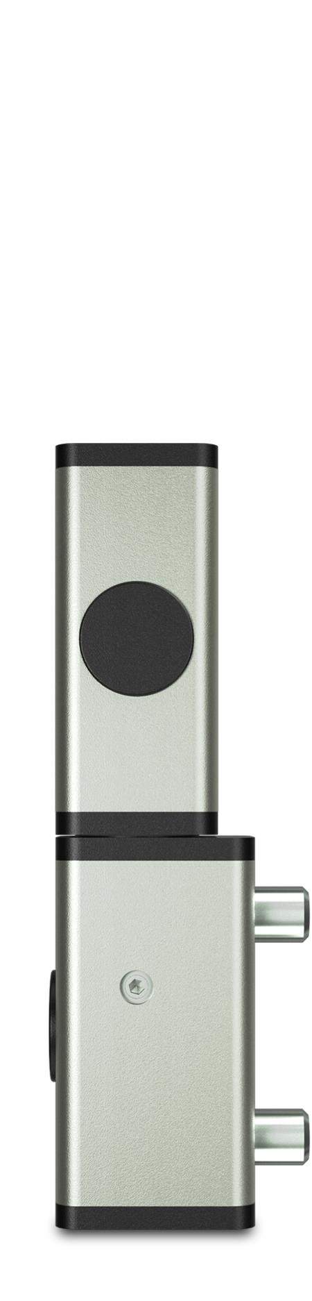 Eckscharnier 2-teilig Edelstahl, gesandstrahlt, rechts und links verwendbar, teilmontiert, steigend, 8mm höheneinstellbar, für Türen ab 35 mm Überschlag, mit Zapfen, mit schwarzen Abdeckkappen