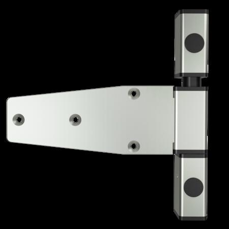 Lappenscharnier 3-teilig Edelstahl, gesandstrahlt, rechts, steigend, 29,5 mm Überschlag, mit Zapfen, mit schwarzen Abdeckkappen