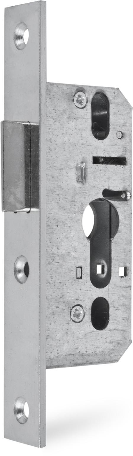 Einsteckfallenschloss, Stahl weiß cB verzinkt, PZ vorgerichtet, Dornmaß 25 mm
