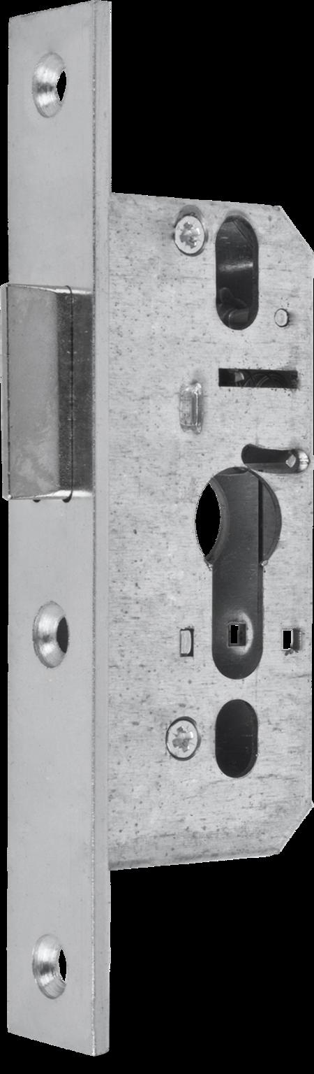 Einsteckfallenschloss, Stahl weiß cB verzinkt, PZ vorgerichtet, Dornmaß 35 mm