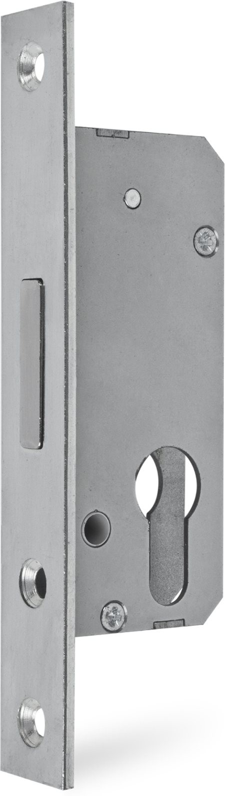 Riegelschloss 30 Dorn bündig, Riegelausschluss 25 mm, zweitourig, Riegel mit Stahlstift, Lochabstand Befestigungslöcher Stulp 136 mm
