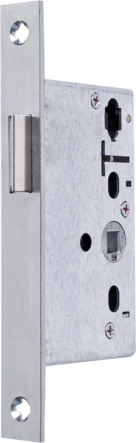 Einsteckfallenschloss Klasse 3, DIN 18251-2 Falle umlegbar, DIN rechts / links verwendbar, Dorn 22 mm, Klemmnuss 8 mm, Stulp kantig Stahl matt chromatiert 170 x 20 x 3 mm
