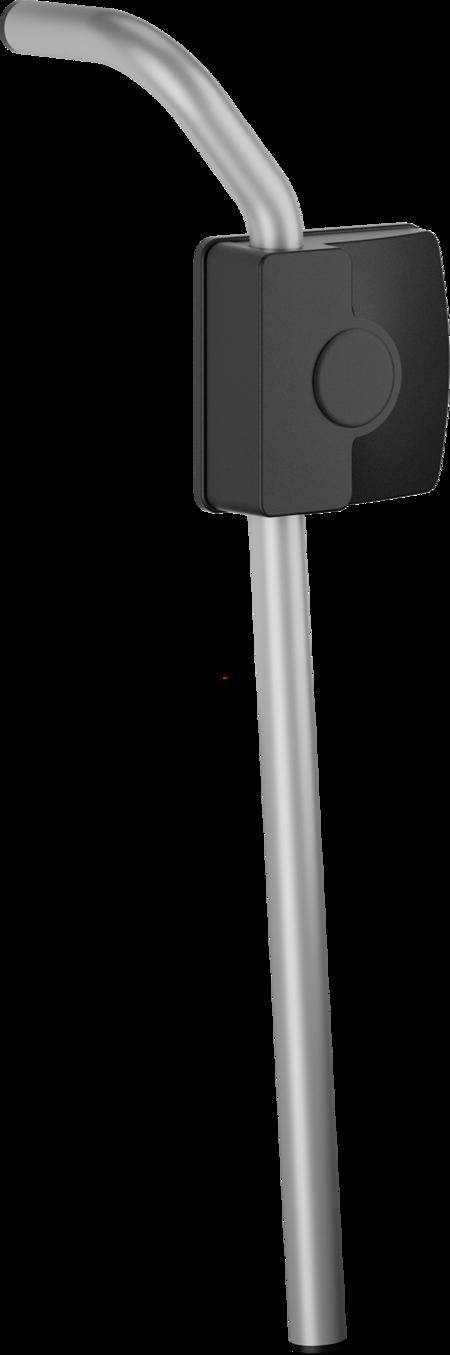 Aussenhebel für Kühl- und Tiefkühlraumschiebetüren, Edelstahl, gesandstrahlt, Gehäuse Kunststoff, schwarz, türstärkenunabhängig, rechts
