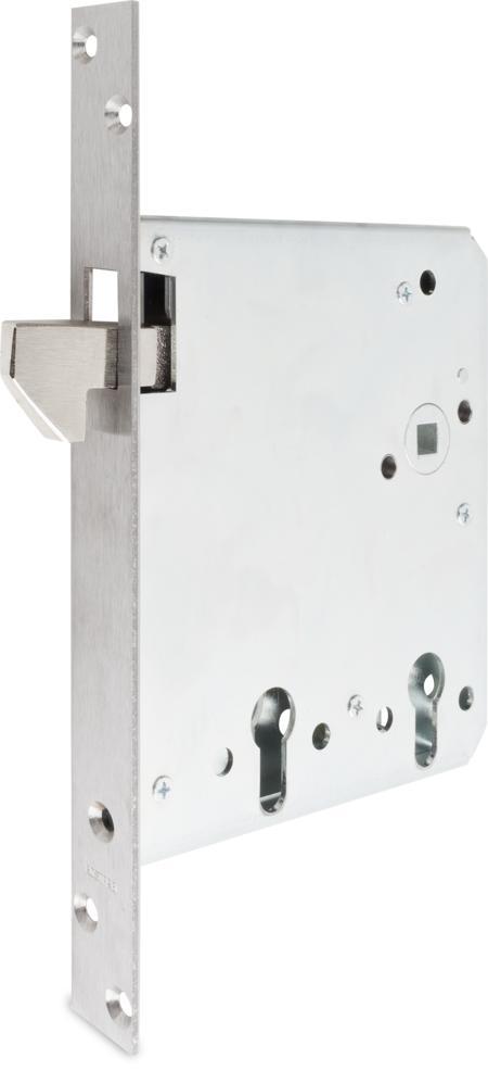 Einsteck-Schiebetürschloss mit Wechsel für 2 Profilzylinder vorgerichtet Dornmaß 55/120 mm, Entfernung 72 mm mit hebender Falle zum Festschließen Stulp Edelstahl 260 x 24 x 3 mm, käntig