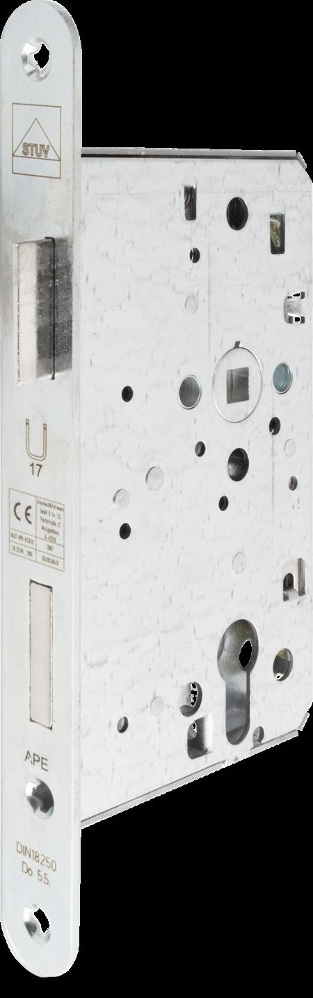 Einsteck-Panikschloss PZW, Anschlussmaße nach DIN 18250, Nuss 9 mm, Dornmaß 65 mm Entfernung 72 mm, Stulp Stahl weiß cB verzinkt abgerundet 235 x 24 x 3 mm, DIN rechts