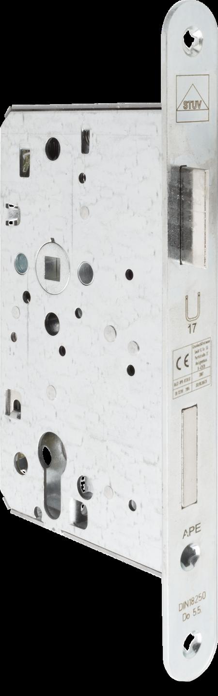 Einsteck-Panikschloss PZW, Anschlussmaße nach DIN 18250, Nuss 9 mm,Dornmaß 65 mm Entfernung 72 mm, Stulp Stahl weiß cB verzinkt, abgerundet 235 x 24 x 3 mm, DIN links