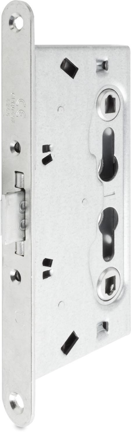 Einsteckschloss für Feuerschutztüren H 80, Stahl weiß cB verzinkt, mit Wechsel, für 2 Profilzylinder vorgerichtet, Entfernung 72 mm, Dornmaß 65 mm, Vierkantnuss 9 mm, Stulp 235 x 24 x 3 mm, DIN rechts / links verwendbar
