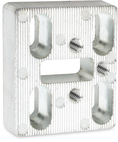Montageplatte Zink-Druckguss, verzinkt, rechts und links verwendbar, für Kloben, für Falztüren, Höhe 8,5 mm, für Schließkloben bei Türen mit Überschlag 28 - 32 mm