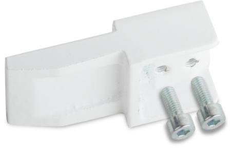 Verlängerungsschuh für nach innen öffnende Türen Messing, EPS beschichtet weiß RAL 9016, rechts und links verwendbar, mit 2 Schrauben DIN 912 M5 x 12 mm, zur Verlängerung des Anzugsrings