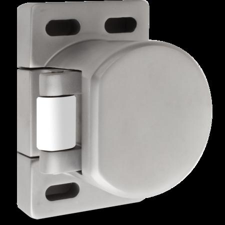 Verschlusselement Edelstahl, gesandstrahlt, rechts und links verwendbar, Anpressdruck einstellbar ca. 260 330 N, mit Nylon-Rolle, mit Rasterplatte