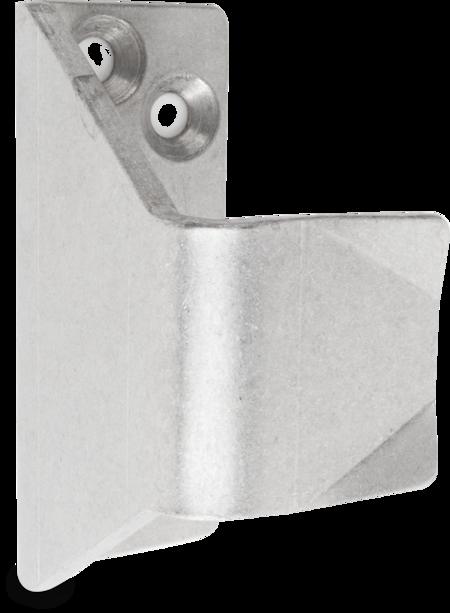 Schließkloben Edelstahl, gleitgeschliffen, rechts und links verwendbar, Höhe 36 mm, U-Form für nach innen öffnende Türen