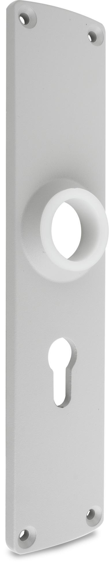 Langschild Zink-Druckguss, EPS beschichtet RAL 7038, rechts und links verwendbar, mit PZ-Lochung, Entfernung 60 mm