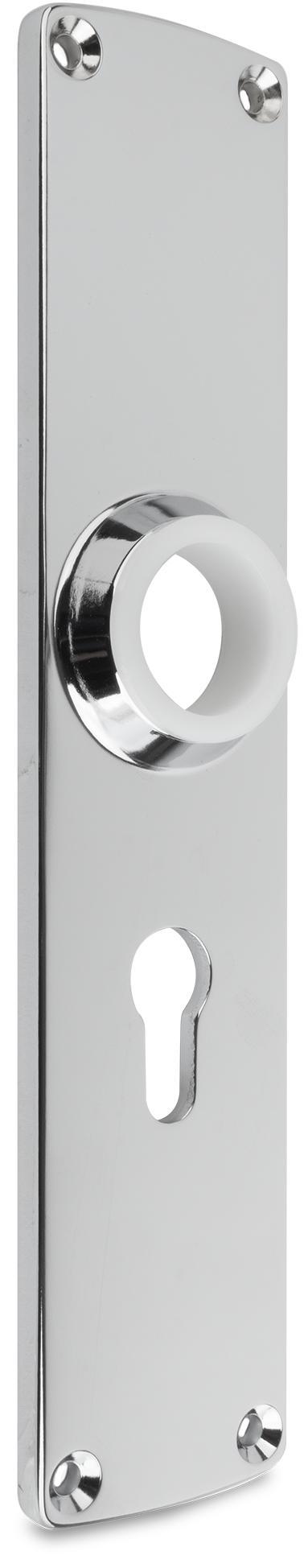Langschild Zink-Druckguss, verchromt, rechts und links verwendbar, mit PZ-Lochung, Entfernung 60 mm
