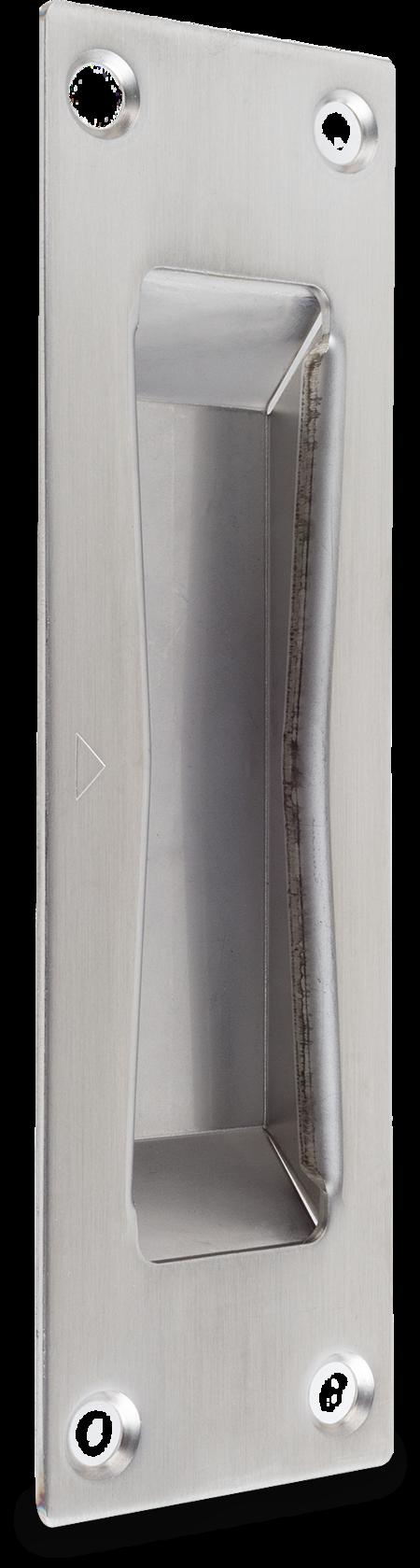 Schließblech Edelstahl, blank, rechts und links verwendbar, mit Kasten, für Einsteck-Schnecken-Schloß