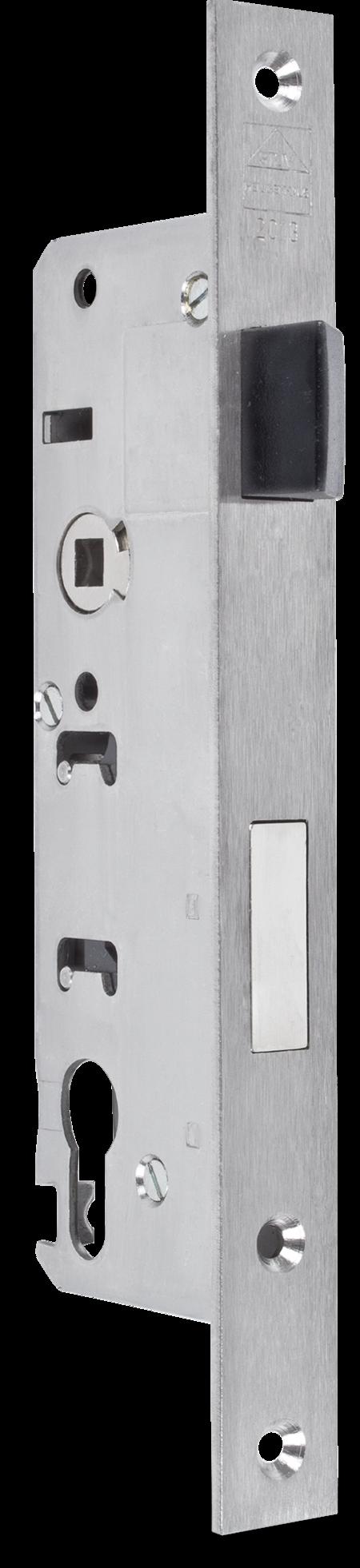 Einsteckschloss Edelstahl mit Wechsel Dornmaß 40 mm, Entfernung 92 mm Falle Gliss-Coat beschichtet, bündig, Ausschluss 20 mm, DIN links