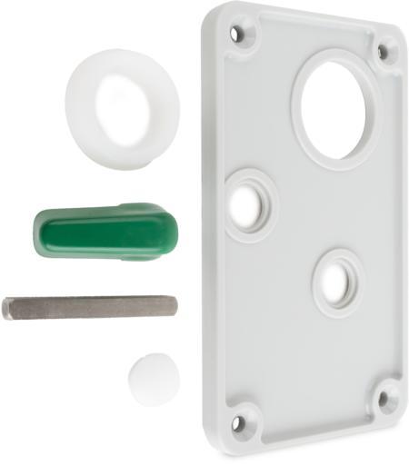 Notöffnungsschild Kunststoff Innenschild grau mit Olive, Vkt.-Sift, Ansatzbuchse und Stopfen