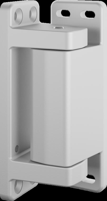 Eckscharnier Zink-Druckguss, EPS beschichtet grau RAL 7038, rechts, steigend, für Türen ab 60 mm Überschlag