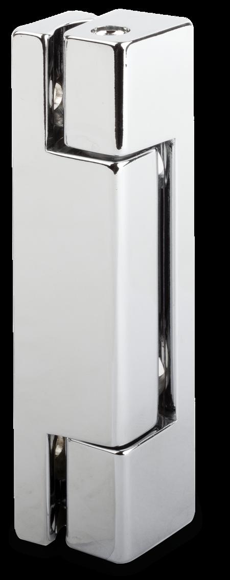 Eckscharnier Zink-Druckguss, verchromt, rechts und links verwendbar, 15 mm Drehpunkt, nicht steigend, seitliche Montage