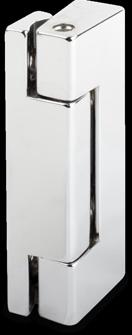 Eckscharnier Zink-Druckguss, verchromt, rechts und links verwendbar, 24 mm Drehpunkt, nicht steigend, seitliche Montage