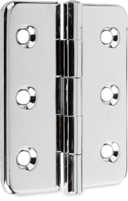 Lappenscharnier Messing, verchromt, rechts und links verwendbar, für bündige Türen, nicht steigend, geprägt, 180° Öffnungswinkel
