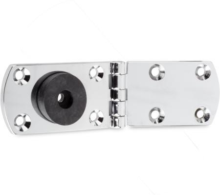 Lappenscharnier Zink-Druckguss, verchromt, rechts und links verwendbar, für bündige Türen, nicht steigend, mit Gummipuffer, 180° Öffnungswinkel
