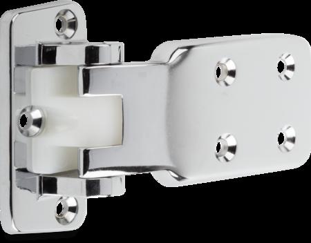 Lappenscharnier Zink-Druckguss, verchromt, rechts und links verwendbar, 24 mm Überschlag, nicht steigend, Öffnungswinkel 110°