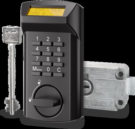 TULOX Elektronik-Tresorschloss-System VDS Schlossklasse 2 / EN 1300 B - DISPLAY Schlosstyp 4.17.1010.X + 4.17.002X.X rechts schwarz, 1 Schlüssel 130 mm lang 1 Master-, 8 Benutzer-Codes Öffnungsverzögerung Umgehung der Öffnungsverzögerung