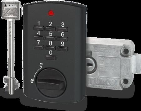 TULOX Elektronik-Tresorschloss-System, VDS Schlossklasse 2 / EN 1300 B, Schlosstyp 4.17.1010.X + 4.17.001X.X rechts, schwarz, 1 Schlüssel 130 mm lang, 1 Master, 8 Benutzer-Codes, Öffnungsverzögerung, Umgehung der Öffnungsverzögerung