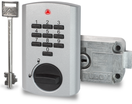 TULOX Elektronik-Tresorschloss-System, VDS Schlossklasse 2 / EN 1300 B, Schlosstyp 4.17.1010.X + 4.17.001X.X rechts, silbern, 1 Schlüssel 130 mm lang, 1 Master, 8 Benutzer-Codes, Öffnungsverzögerung, Umgehung der Öffnungsverzögerung
