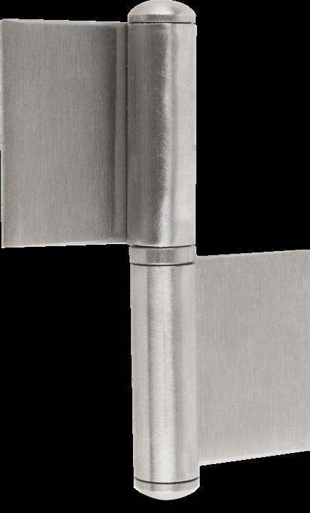 Scharnier 2-tlg. Edelstahl rostfrei matt gebürstet mit losem Stift und Zwischenring 103 x 30 x 2 mm