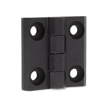 Scharnier Polyamid PA6 GF 30 schwarz 40 x 40 x 5 mm, Stift Edelstahl, Schraublöcher für Flachkopfschrauben