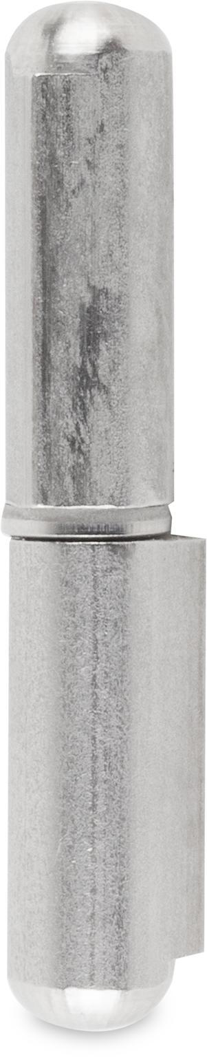 Bandrolle Edelstahl mit festem Stift 60 mm gezogenes Vollprofil, Rundkopf, Stift Ø 6 mm naturblank mit Zwischenring