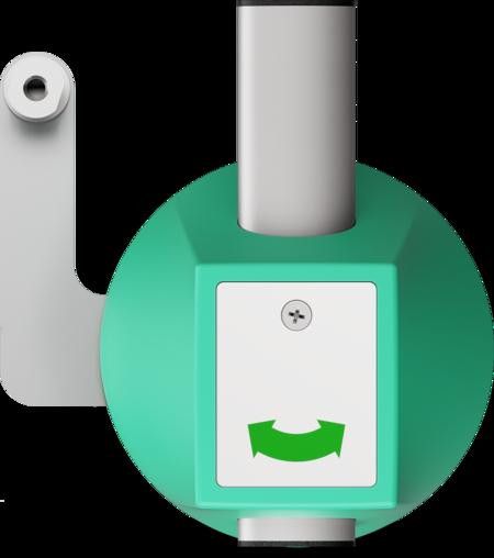 Vorreiber für Mehrpunktverschlüsse Gehäuse Kunststoff, verkehrsgrün ähnl. RAL 6024, rechts und links verwendbar, oben schließend, mit Stangenhalterung