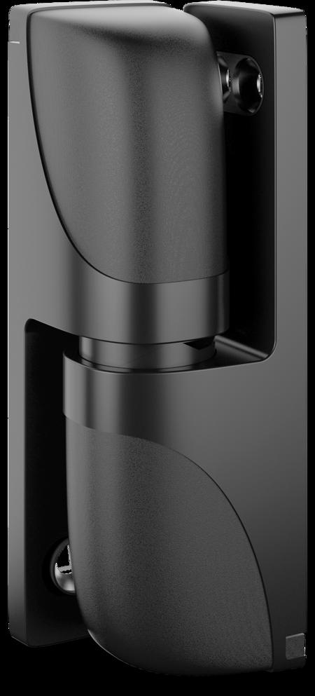 Eckscharnier VARIOFLEX Zink-Druckguss, EPS beschichtet schwarz RAL 9005, rechts und links verwendbar, steigend, 3D-einstellbar, für Türen ab 49 mm Überschlag, aushängbar, rastbar bei ca. 118°, inklusive 2 Abdeckkappen, Öffnungswinkel 180°, ohne Zube
