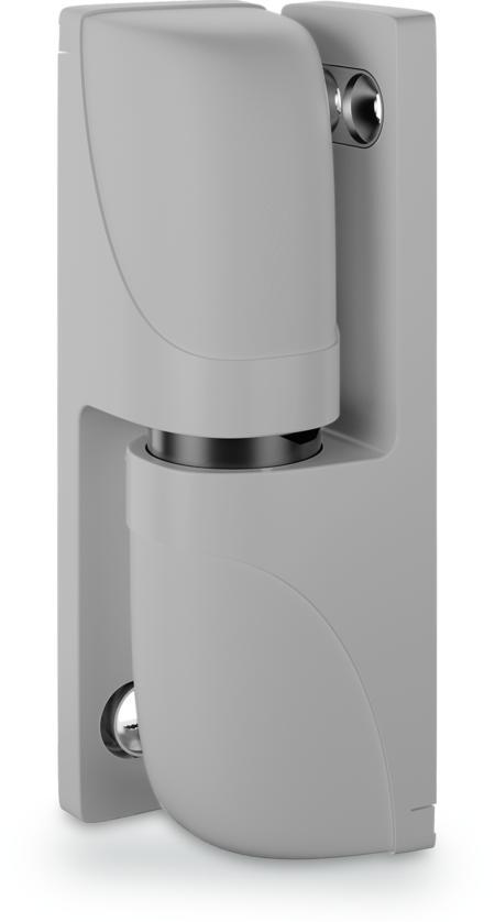 """Eckband """"Varioflex"""" mit Aushebesicherung, steigend, höhenverstellbar, aushängbar, rastbar RAL 7038"""